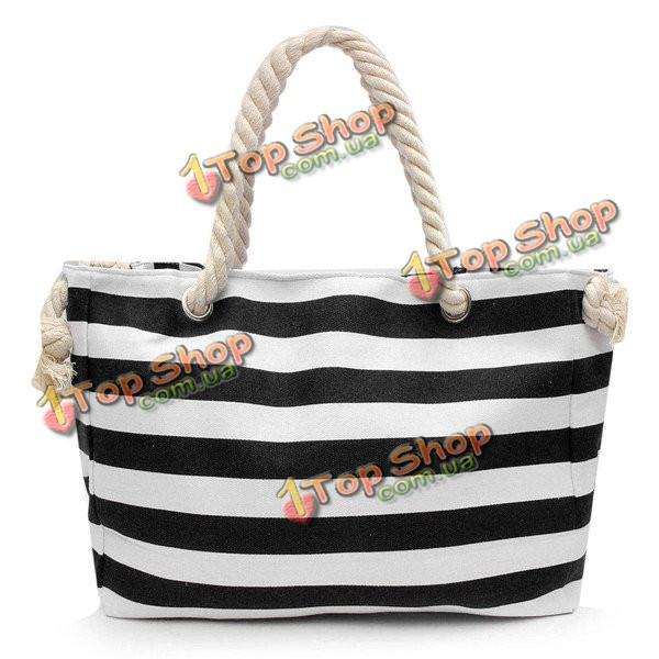 4fe7f86b0a47 Женщины холст полоса сумки веревку мешки плеча девочки летние пляжные сумки  - ➊TopShop ➠ Товары из