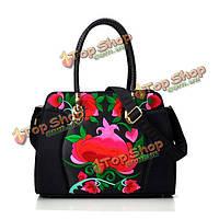 Национальный пион вышивка хлопок сумки дамы фолк-заказ мешки плеча Crossbody сумки