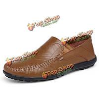 Большой размер скольжения на кожаных формальная обувь мягкой подошве обуви бизнес