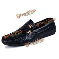 Мужчины удобные кожа случайные скольжения на обувь Loafer мокасины обувь для вождения