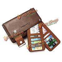 Мужчины бизнеса в сфере натуральной кожи держатель карты большой емкости молнии кошелек сумка портативный