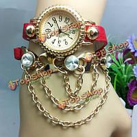 Женщины случайный кристалл кулон ожерелье браслет часы длинный ремень