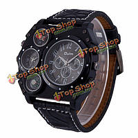 Oulm 1349 Men Double Movement Military Compass & Thermometer Decoration Black Dial Watch