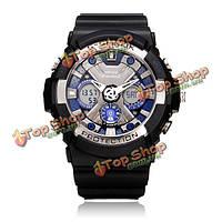 Bistec двойной дисплей спорт белый свет черные мужские наручные часы