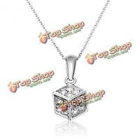 Итальянском австрийских кристаллов циркона квадратный кулон ожерелье золото серебро