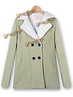 Женщины повседневная зимняя верхняя одежда с длинным рукавом двубортные шерстяные пальто