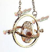 Вращающийся розовый песок песочные часы кулон ожерелье позолоченный