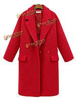 Женщины красный отворот покрывают черное с грудкой карманное пальто