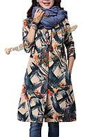 Женщины печатать однобортный свободный длинный рукав пальто старинные