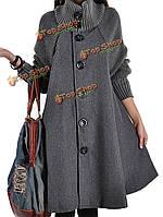 Женщины Wollen лоскутное однобортный с длинным рукавом сыпучих пальто