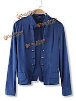 Сплошной цвет стенд воротник двойной брестед куртка верхняя одежда