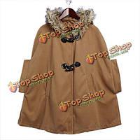 Женщин меховой Рог кнопку с капюшоном пальто носовой платок накидка теплая куртка пальто