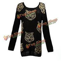 Весна осень женщин горячей моды леопарда головы трикотажных изделий