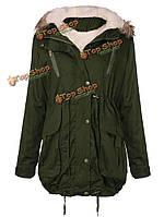 Женщины толстый флис теплая куртка из искусственного меха на молнии с капюшоном parka куртки