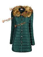 Женщины енота меховой воротник длинный толстый мягкий хлопок пальто куртки