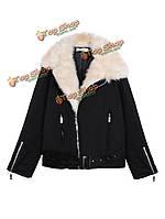 Женщины faux мех зимняя куртка пуховики волосатые застежка овечьей шерсти куртка