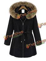 Женщин роскошные меха енота с капюшоном молния утолщаются пальто и пиджаки