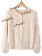 Женщин элегантный бежевый мохер мягкий тонкий вязать свитер кардиган