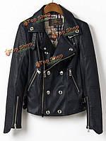 Женщин моды кнопки молнии черный отворот карманы кожаной куртки PU