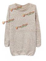 Длинный рукав женщин без ворота связал свитер мохера прыгуна пуловера