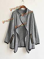Европейский стиль женщины свободные трикотажные кардиган свитер повседневный куртки пальто