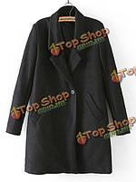 Зимние женщин тонкий траншею пальто шерсти с длинным рукавом длинное пальто