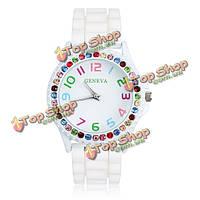Белый резиновый кристалл количество женщин кварцевые наручные часы
