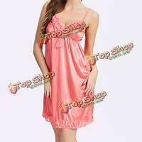 Женщин сексуальный гладкий ремень спагетти пижамы кружева глубокий v Nightdress