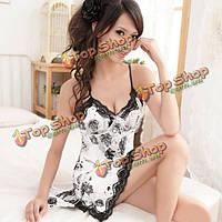 Женщины Sexy кружева шелк черная роза шаблон проводки женское белье ночная сорочка