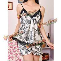 Женские глубокий V-образным вырезом спагетти ремень кружева шорты пижамы набор