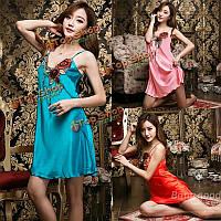 Секси леди атласные пижамы розы пижамы шелковое белье платье