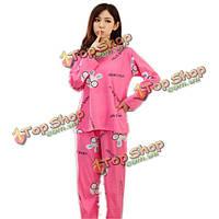 Мило корова леди прекрасный кролик длинный рукав пижамы пижамы  устанавливает животные ночное белье c26aa33029a90
