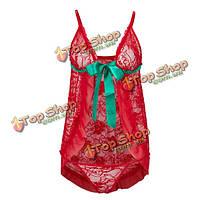 Плюс размер сексуальный красный шнурок зеленый лук открытой передней медовый месяц клубники комплект нижнего белья Babydoll