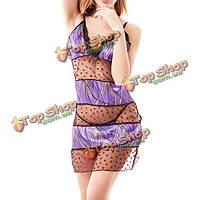 Женщины сексуальное сердце штамп перспектива пижама кружева v шеи сплайсинга Nightdress