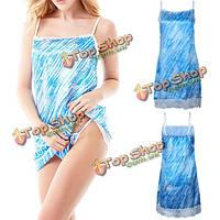 Женщин планки спагетти сатин пижама синяя печать кружева подол ночной рубашке