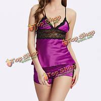 Кружева цветочным сексуальные комплекты сорочка отдых мягкой эротическое белье шелк V-образным вырезом пижамы