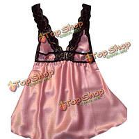 Зашнуруйте цветочные сексуальные железки повседневная мягкая эротическая ночная рубашка одежды для сна шелка дамского белья с вырезом в