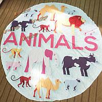 Мат пляжное полотенце шали настенный гобелен Yoga 145см животное напечатанный белый круглый