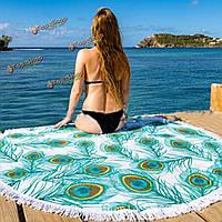 Коврик пляж печать бросить шаль стене висит гобелен Yoga 150см перо павлина напечатаны круглое полотенце
