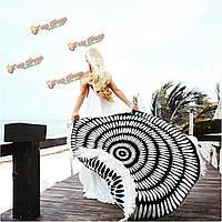 Коврик на пляже печать бросить полотенце шали стене висит гобелен Yoga 150см черный белый круглый кисточка