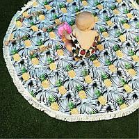 Коврик на пляже печать бросить полотенце шали стене висит гобелен Yoga 150см ананаса напечатаны круглый