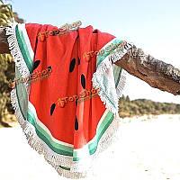 Коврик на пляже печать бросить полотенце шали стене висит гобелен Yoga 150см арбуз напечатаны круглый