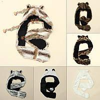 Женская зима женщин искусственная меховая шапка животных пушистые шикарные перчатки платка шарфа капюшона кепки