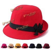 Женщины шерсти imtiation Fedora фетровой Cloche крышка лук чувствовал широкими полями шляпы котелок ковш