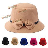 Женщины дамы лук шерсти имитация Fedora ковша чувствовал широкими полями шляпы котелок колокольня