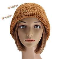 Женщины дамы сутулиться мешковатый шерстяной пряжи крючком шапочку шлема зимы теплая вязаная шапка