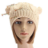 Женщины дамы вязание крючком вязаные кошки уха дьявола сутулятся шапочку шлема зимы теплая шапка