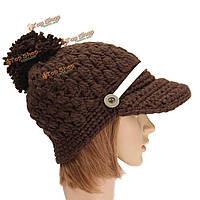 Женщины дамы плетеный вязаные мешковатые шапочки вязаные крючком лыжный шлем кнопку декоративной бейсболку