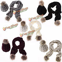 Женщины дамы трикотажные искусственного меха шерсти шапочку крючком мешковатую лыжную шапочку набор шапка шарф
