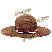 Летняя мода полосой кружева лук соломенная пляжная шляпа дискеты Вс Hat